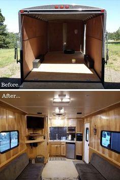 Cargo Trailer Conversion Ideas – DIY Camper Floor Plans & Kits Airstream sport -- … layouts w & w/o bathroom Glamping Caravan Ontario Utility Trailer Camper, Cargo Trailer Camper Conversion, Toy Hauler Camper, Trailer Storage, Converted Cargo Trailer, Truck Camper, Renault Kangoo Camper, Opel Vivaro Camper, Camper Van