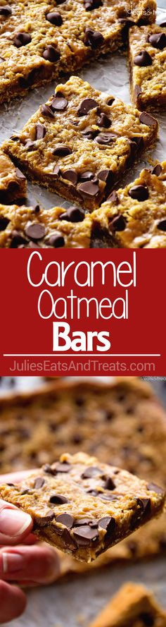 Caramel Oatmeal Bars ~ These Oatmeal Bars Have a Delicious, Ooey, Gooey Layer of Caramel and Sweet Chocolate Chips! Quick, Easy Dessert for Anyone! via @julieseats