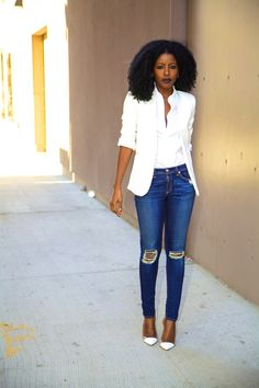 White Blazer + White Button-Up + Distressed Jeans - Style Pantry