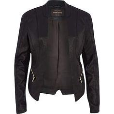 Black leather-look fitted jacket £50.00 #riverisland #RIwomenswear