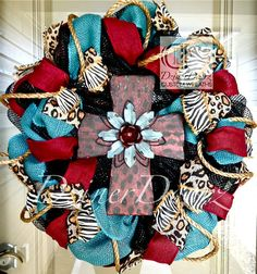 Deluxe Animal Print and Rustic Burgundy Cross deco mesh Wreath