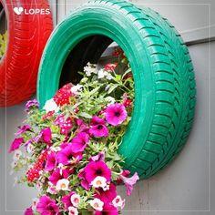 Reutilize pneus no seu jardim.