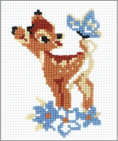 Riolis Bambi - Cross Stitch Kit. This cross stitch kit includes 10 count Aida Zweigart fabric, Safil wool/acrylic threads (5 colors), needle, instructions and c