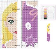marque page raiponce Cross Stitch Bookmarks, Cross Stitch Books, Beaded Cross Stitch, Crochet Cross, Cross Stitch Charts, Cross Stitch Embroidery, Disney Cross Stitch Patterns, Cross Stitch For Kids, Cross Stitch Designs