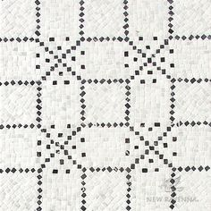 Augustine, a hand-cut stone mosaic, shown in hand-chopped tumbled Calacatta Tia and Nero Marquina, is designed by Paul Schatz as part of the Legend™ collection by New Ravenna. Tribal Patterns, Mosaic Patterns, Stone Mosaic, Stone Tiles, Ravenna Mosaics, New Ravenna, Black And White Tiles, Calacatta, Flooring