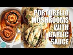 Grilled Portobello Mushrooms with Garlic Sauce. Grilled or Baked Marinated Portabella Mushrooms served with creamy gravy. Healthy Eating Recipes, Vegetable Recipes, Whole Food Recipes, Vegetarian Recipes, Vegetarian Barbecue, Barbecue Recipes, Vegetarian Cooking, Grilled Portobello