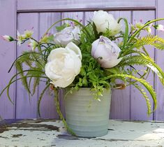 Shabby Chic Lavender & White Roses Silk Flower Centerpiece Floral Arrangement