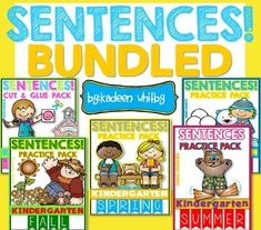 This bundle is going to be lots of fun for your kiddos practicing sentences with sight words all year long. Includes:YOU SAVE OVER $10.00 WITH THIS BUNDLE.WORDS TAKEN FROM FRY'S FIRST 100.FOLLOW ME BY CLICKING THE STAR ABOVE. FEEL FREE TO ASK ANY QUESTIONS YOU MAY HAVE IN THE QUESTION AND ANSWER SECTION.