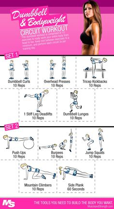 Dumbbell and bodyweight circuit workout. This dumbbell workout is comprised of 10 exercises. It will work your entire body from head to toe. Keep rest between exercises to a minimum, and perform each circuit 3x per training day.