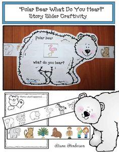 "5 Senses Activities: Super-cute ""Polar Bear What Do You Hear?"" storytelling slider craftivity."
