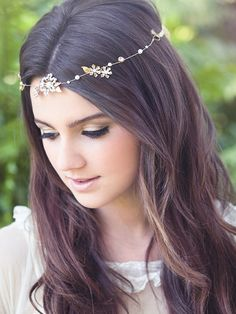 Bridal hair vine forehead band brass flower crown by Elibre, $99.00
