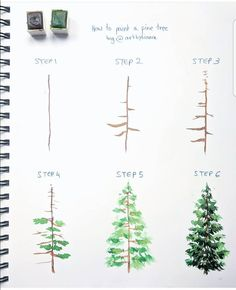 """"""" """" ✨ // ✨ – Julie – Wholepics Daily Pin Store The post """" """" ✨ // ✨ – Julie appeared first on Woman Casual - Drawing Ideas Watercolour Tutorials, Watercolor Techniques, Art Techniques, Watercolor Trees, Easy Watercolor Paintings, How To Watercolor, Watercolour Tips, Watercolor Christmas Tree, Christmas Tree Drawing"""