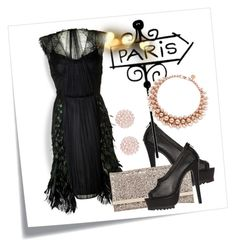 """""""LBD! From Paris"""" by julidrops ❤ liked on Polyvore featuring Alberta Ferretti, Nasty Gal, Jimmy Choo, Ellen Conde and Swarovski"""