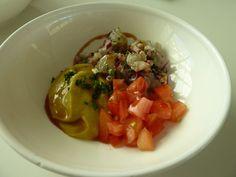 Gastrosol Tapas Sevilla. Tartar de langostinos con tomate y aguacate