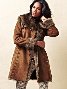 Amazon.com: BGSD Women's Faux Shearling Asymmetrical Button Up ...