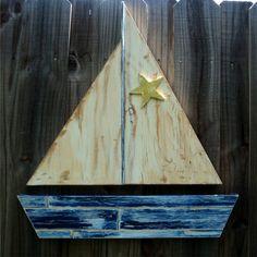 Vintage Style Wooden Sail Boat, Lake House Decor