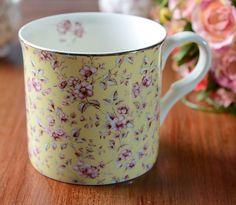 Katie Alice Ditsy Yellow Floral Bone China Palace Mug Shabby Chic Mugs 5030011bf84