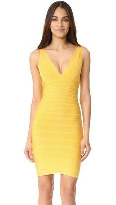 Radiant Sun Herve Leger Lauren Sleeveless Cocktail Dress