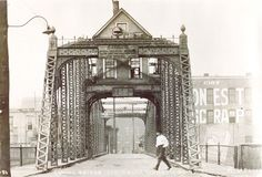 Old picture of the lift bridge at Ashtabula Harbor.