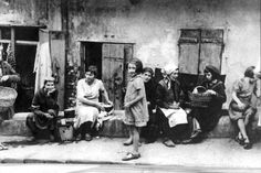 Warsaw, Poland, Street scene in the ghetto. No record of anyone recognized as a survivor