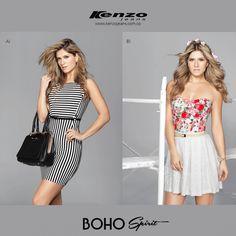 Tu eliges que #outfit es que el mejor se acopla a tu día, lineas duotono o estampados florales #KenzoJeans #BohoSpirit Más en www.kenzojeans.com.co