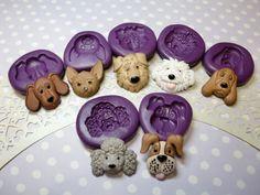 Dog's Face Set (23-30mm) Mold, Hound Beagle Chiwawa Maltese Poodle Boxer Dog Cupcake Topper Mold, Clay Mold, Icing Fondant Chocolate Mold
