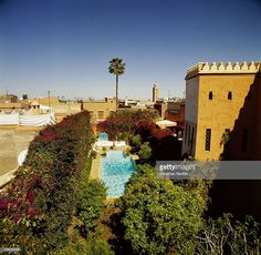 This is the roof of the iconic Talitha Getty photo in Vogue. Writer Bernard-Henri Levy is photographed for Vanity Fair Magazine on March 16, 2002 at the pool in his eighteenth century palace in Marrakech, Morocco. PUBLISHED