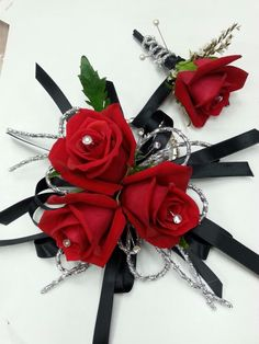 Red and black silver corsage for prom