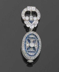 Art Deco Watch Brooch / SAPHIR-DIAMANT-ANHÄNGERUHR, AGASSIZ W. Co, um 1927 Art Deco Jewelry, Jewelry Design, Art Deco Fashion, Fashion Jewelry, Art Deco Watch, Watch Case, Diamond Pendant, Love Art, Blue Topaz