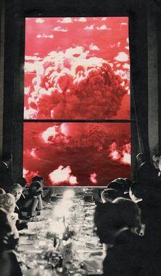 """Front row seats"" Collage on paper Sammy Slabbinck 2014"