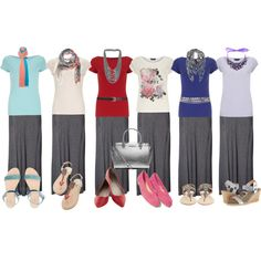 various casual looks for gray maxi skirt