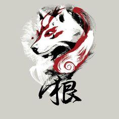 painting brushstroke chinese japanese wolf culture tshirt tee graphic tee mens…