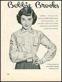hair inspiration // 1940s ad for Bobbi Brook's blouses. #vintage #1940s #shirts #ads