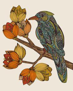 Bravebird art print by Valentina on society6.  Really beautiful detail