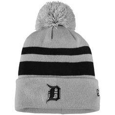 7eb547539f7 Men s Detroit Tigers New Era Gray Black Rebound Cuffed Knit Hat with Pom