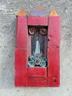 Red Wooden Shrine / Rustic Handmade Shrine With Hand by Popielnik, $305.00