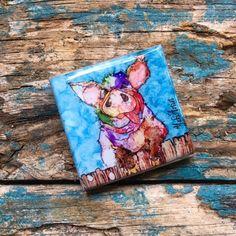 Refrigerator Pig-3 Magnets, Art Magnet, Kitchen Magnet 2x2 tile, Whimsical Colorful  Alcohol Ink Art, Handcrafted magnet by YakiArtist by YakiArtist on Etsy