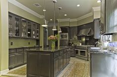 Contemporary Kitchen with Pendant Light, Lexington Cabinetry, Black Galaxy Granite, Stonemark Granite, Undermount Sink, Flush