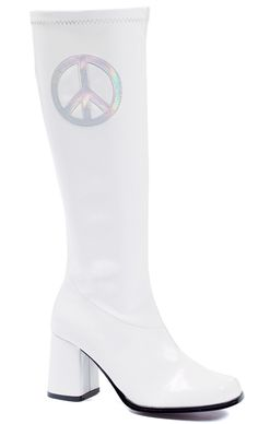 3 inch tall stretch patent leather gogo boots with holo silver peace sign and side zipper. Medium width.