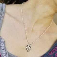 Handcrafted dog paw necklace   #Dog #DogMonth #necklace #jewelry #cowgirljewelry  http://www.islandcowgirl.com/