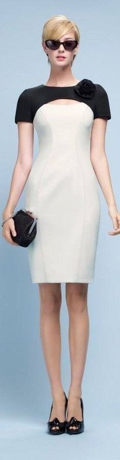 PAULE KA : Dress in neoprene mesh and satin-backed crepe Simple Dresses, Pretty Dresses, Short Dresses, White Outfits, White Fashion, Dress Patterns, Beautiful Outfits, Dress Skirt, Fashion Dresses