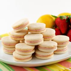 Strawberry Filled Lemon Sandwich Cookies