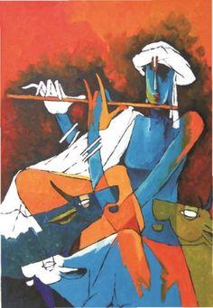 Krishna India Painting, Artist Painting, Figure Painting, Painting & Drawing, Modern Indian Art, Indian Folk Art, Indian Artist, Indian Art Paintings, Amazing Paintings