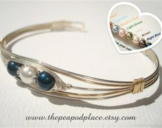Two tone wire wrapped bracelet - Customize & choose your colors - Peas in a Pod Jewelry - cuff bracelet - bangle