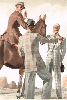men riding, menswear fashion illustration
