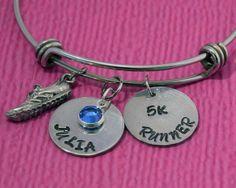 Personalized Name Bracelet | Runner Gifts | 5K Runner | Cross Country | Runner Bracelet | Running Shoe Charm Bracelet | Gift for Runners by charmedbykobe on Etsy