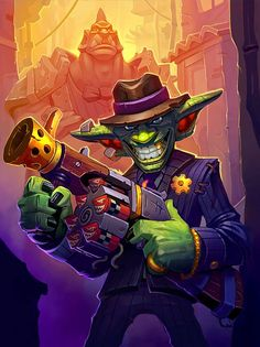 Big-Time Racketeer Artist: A. Art Warcraft, World Of Warcraft 3, Warcraft Characters, Fantasy Characters, Fantasy Races, Fantasy Art, Hearthstone Heroes Of Warcraft, Les Gobelins, Goblin Art