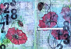 Poppies art journal page by Michelle Logan, featuring Poppy stamps from Scrap FX:  www.scrapfx.com.au
