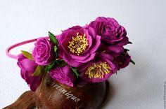 "Купить Ободок ""Скарлетт"" - фуксия, ободок с цветами, ободок для волос, ободок для девочки, ободок с розами"