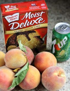Peach Cobbler with Cake Mix could not be any simpler to make! All it takes is a cake mix + peaches + a can of soda. Delicious and easy peach cobbler recipe! Duncan Hines, Cake Mix Recipes, Dessert Recipes, Cake Mixes, Cake Mix Desserts, Eggless Desserts, Fresh Peach Cobbler, Fresh Peach Dump Cake Recipe, Easy Peach Cobbler Recipe With Cake Mix